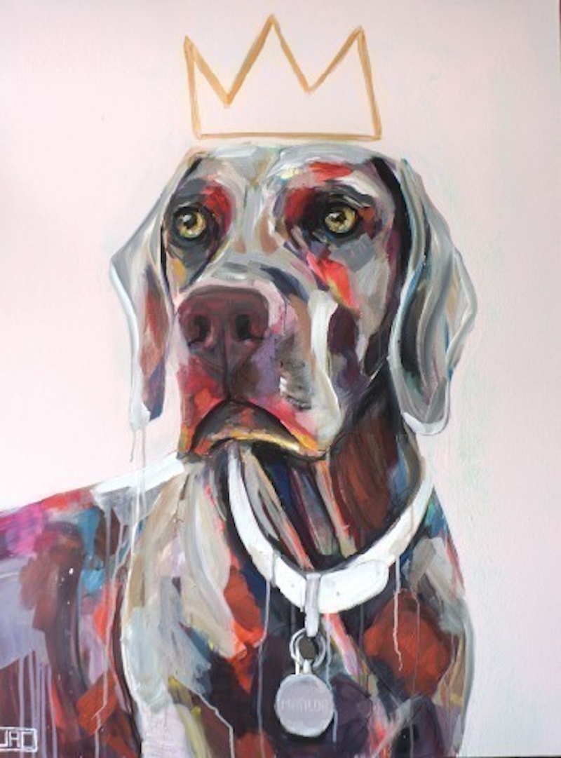 (CreativeWork) Tilda the Weimaraner by Jac Clark. arcylic-painting. Shop online at Bluethumb.