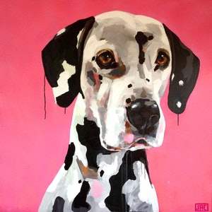 (CreativeWork) Dymo the Dalmation by Jac Clark. arcylic-painting. Shop online at Bluethumb.