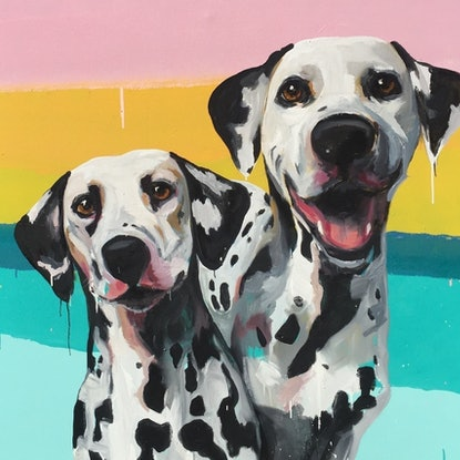 (CreativeWork) Willy and Hugo Pumped for the Long Weekend by Jac Clark. Oil Paint. Shop online at Bluethumb.