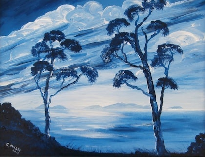 (CreativeWork) Great Oyster Bay Tasmania by Cheryl Miller. arcylic-painting. Shop online at Bluethumb.
