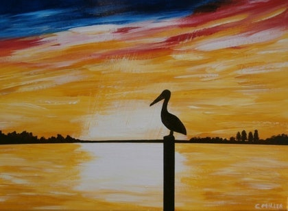 (CreativeWork) Barrage Sunrise by Cheryl Miller. arcylic-painting. Shop online at Bluethumb.