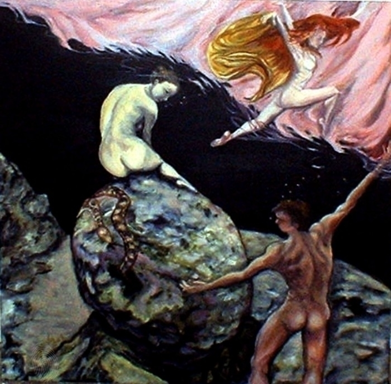 (CreativeWork) Adam and Eve - Different Story by Ana Sastrias. oil-painting. Shop online at Bluethumb.