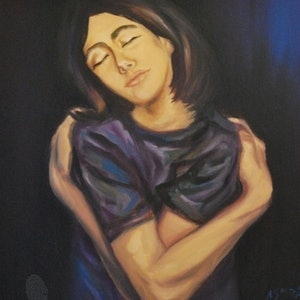 (CreativeWork) Being Content by Ana Sastrias. oil-painting. Shop online at Bluethumb.