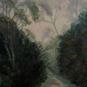 (CreativeWork) Bushwalking in the fog by Ana Sastrias. oil-painting. Shop online at Bluethumb.