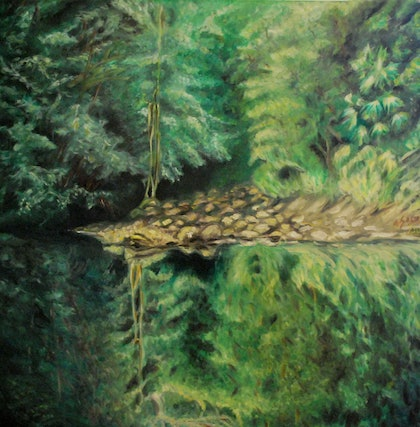(CreativeWork) Down Under Reflected Landscape by Ana Sastrias. oil-painting. Shop online at Bluethumb.