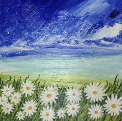 (CreativeWork) Wild Daisies by Katie Lambert. arcylic-painting. Shop online at Bluethumb.