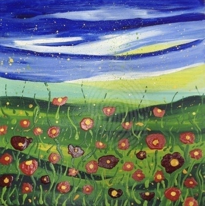 (CreativeWork) Dancing Poppies by Katie Lambert. arcylic-painting. Shop online at Bluethumb.