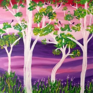 (CreativeWork) White Trees by Katie Lambert. oil-painting. Shop online at Bluethumb.
