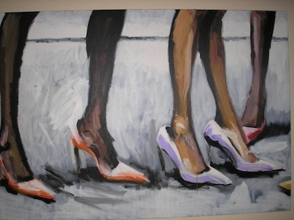 (CreativeWork) Kitten Heels by Andrew Dunsire. arcylic-painting. Shop online at Bluethumb.
