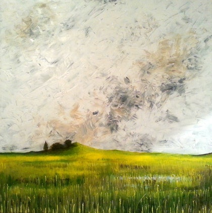 (CreativeWork) Field' Sky by Rick Jerrems. arcylic-painting. Shop online at Bluethumb.