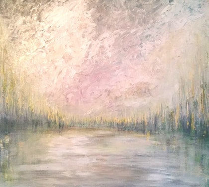 (CreativeWork) Sky and lake by Rick Jerrems. arcylic-painting. Shop online at Bluethumb.