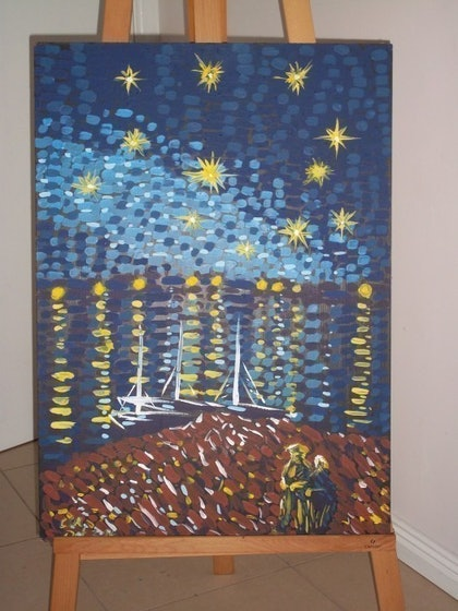 (CreativeWork) Walking in the Evening series by trip hart. arcylic-painting. Shop online at Bluethumb.