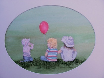 (CreativeWork) The Red Balloon by Stephanie Payne. watercolour. Shop online at Bluethumb.