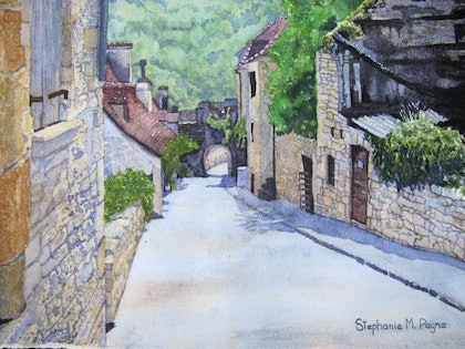 (CreativeWork) A Street scene in Rocamadoer Southern France by Stephanie Payne. watercolour. Shop online at Bluethumb.
