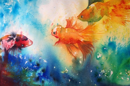 (CreativeWork) Making Friends by Gaye C Boltong. watercolour. Shop online at Bluethumb.