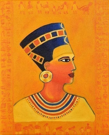 (CreativeWork) \'ROYAL NEFERTITI\' from the \'MAGICAL EGYPT SERIES\' by Kam Saberwal. oil-painting. Shop online at Bluethumb.