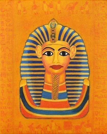 (CreativeWork) \'FASCINATING KING TUT\' from the \'MAGICAL EGYPT SERIES\' by Kam Saberwal. oil-painting. Shop online at Bluethumb.