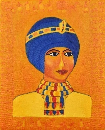 (CreativeWork) \'TIYA' THE PRINCESS\' from the \'MAGICAL EGYPT SERIES\' by Kam Saberwal. oil-painting. Shop online at Bluethumb.