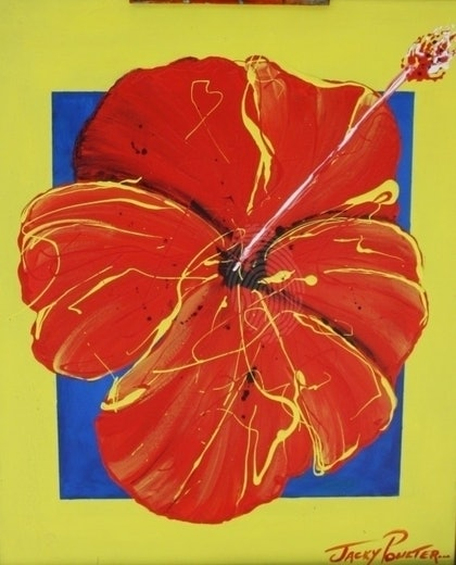 (CreativeWork) \'Red Hibiscus\' by Jacky Poulter. arcylic-painting. Shop online at Bluethumb.