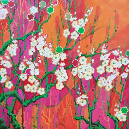 (CreativeWork) Spring Cherry Blossoms by Sumei chew. arcylic-painting. Shop online at Bluethumb.