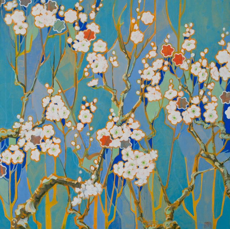 (CreativeWork) Autumn Cherry Blossoms by Sumei chew. arcylic-painting. Shop online at Bluethumb.