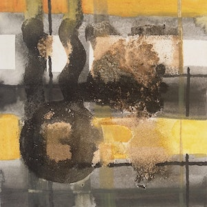 (CreativeWork) Abstract Yellow Black + White by Sumei chew. mixed-media. Shop online at Bluethumb.