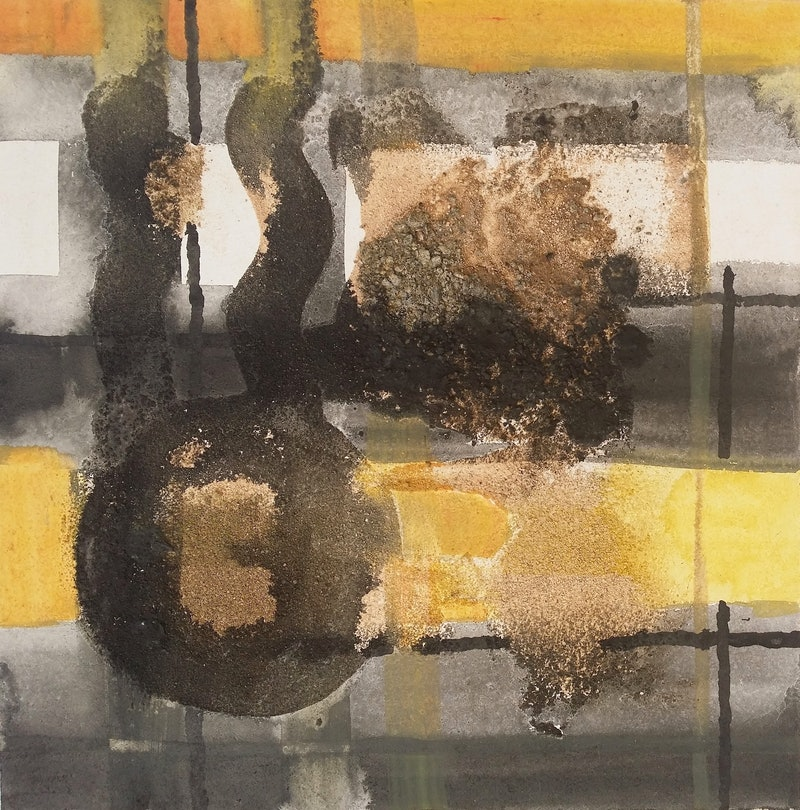 abstract yellow black white by sumei chew paintings for sale