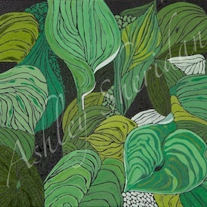 (CreativeWork) Hostas South by Ashley Sheridan. arcylic-painting. Shop online at Bluethumb.