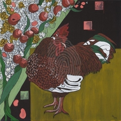 (CreativeWork) Chooks of Great Plummage are Never in the Corner by Ashley Sheridan. arcylic-painting. Shop online at Bluethumb.