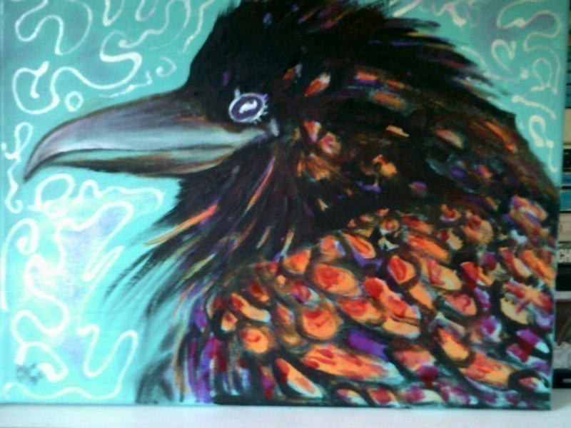(CreativeWork) Bird Talk 2 by Christine DuBrae-James. oil-painting. Shop online at Bluethumb.