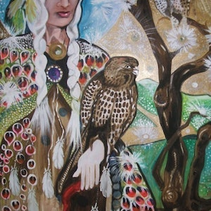 (CreativeWork) Sparrow Hawk by Christine DuBrae-James. oil-painting. Shop online at Bluethumb.