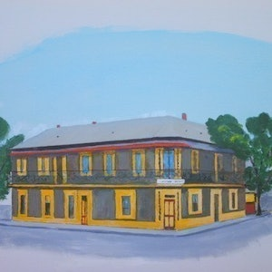 (CreativeWork) ANONYMOUS HOTEL BROKEN HILL by alan thomas. arcylic-painting. Shop online at Bluethumb.
