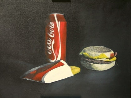 (CreativeWork) CARAVAGGIO  EAT  YOUR  HEART  OUT by alan thomas. arcylic-painting. Shop online at Bluethumb.