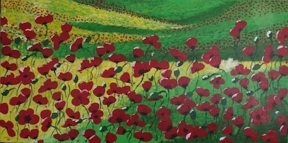(CreativeWork) Poppies in field by Cheng Jiang. arcylic-painting. Shop online at Bluethumb.