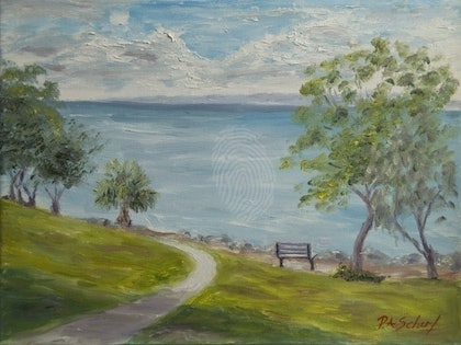 (CreativeWork) Path To The Sea by Pamela Scherf. oil-painting. Shop online at Bluethumb.