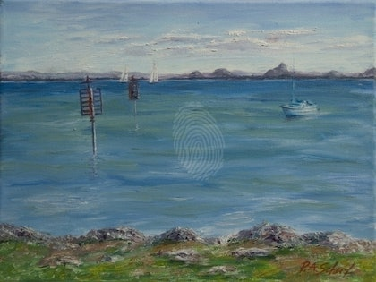 (CreativeWork) Glass House Mountains Across the Water by Pamela Scherf. oil-painting. Shop online at Bluethumb.