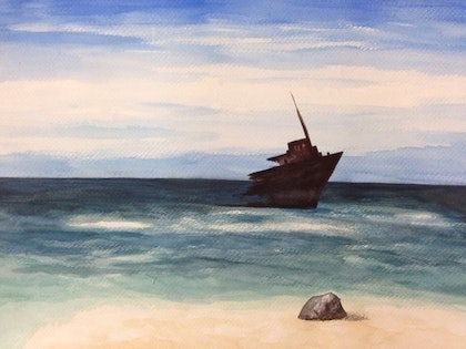 (CreativeWork) Sinking by JIE JIA. watercolour. Shop online at Bluethumb.