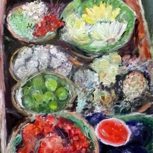 (CreativeWork) Floating market by Artem Bryl. oil-painting. Shop online at Bluethumb.