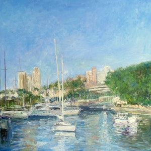 (CreativeWork) Rushcutters Bay by Artem Bryl. oil-painting. Shop online at Bluethumb.