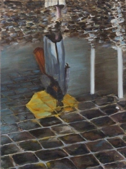 (CreativeWork) Puddle by Ross Wilson. oil-painting. Shop online at Bluethumb.