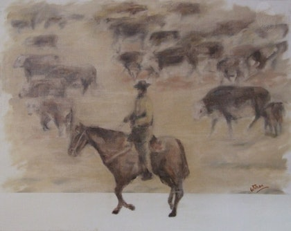 (CreativeWork) Western Plains by Ross Wilson. oil-painting. Shop online at Bluethumb.