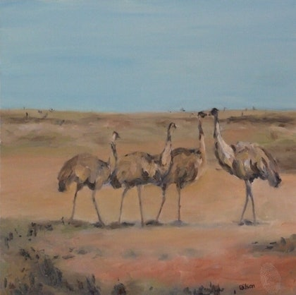 (CreativeWork) Emus by Ross Wilson. oil-painting. Shop online at Bluethumb.