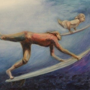 (CreativeWork) The Break by Ross Wilson. oil-painting. Shop online at Bluethumb.