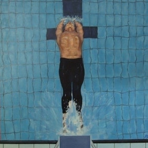 (CreativeWork) Baptism by Ross Wilson. oil-painting. Shop online at Bluethumb.