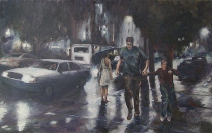 (CreativeWork) Caught Out by Ross Wilson. oil-painting. Shop online at Bluethumb.