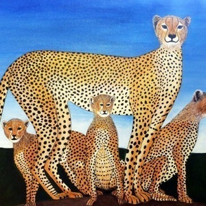 (CreativeWork) Mother & Cubs by Rick Lowe. arcylic-painting. Shop online at Bluethumb.