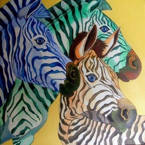 (CreativeWork) Zebra Trio by Rick Lowe. arcylic-painting. Shop online at Bluethumb.