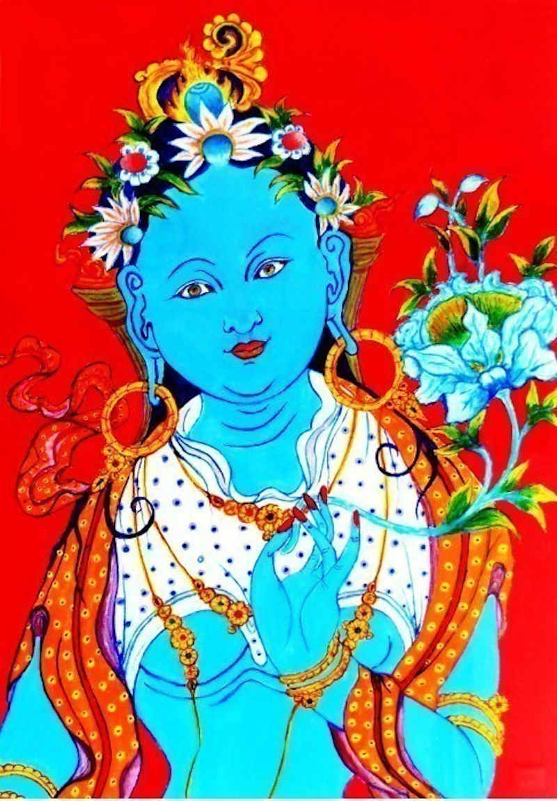 (CreativeWork) Blue Budda by Rick Lowe. arcylic-painting. Shop online at Bluethumb.