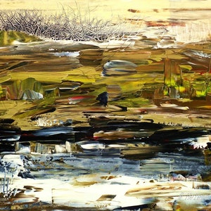 (CreativeWork) Jurassic Landscape by helene hardy. arcylic-painting. Shop online at Bluethumb.