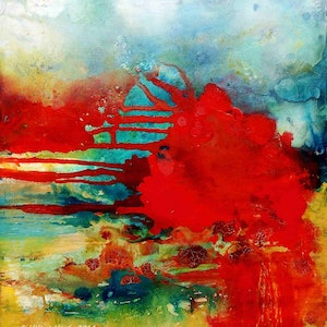 (CreativeWork) Rising Sun by helene hardy. mixed-media. Shop online at Bluethumb.
